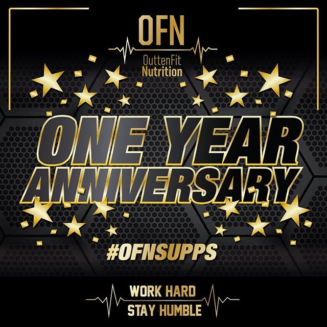 ⭐️Can't believe it's been officially one year tomorrow that we launched our first products here at OFN. ⭐️We can't thank you guys enough for all the support and those of you who spread the name and your love for our products. 🌟🌟Any order placed this weekend only will receive a FREE OFN Shaker.  Thank you guys, we can't wait to keep growing with you all! Remember, Work Hard, Stay Humble. -Cory Outten  #ofnsupps #workhardstayhumble
