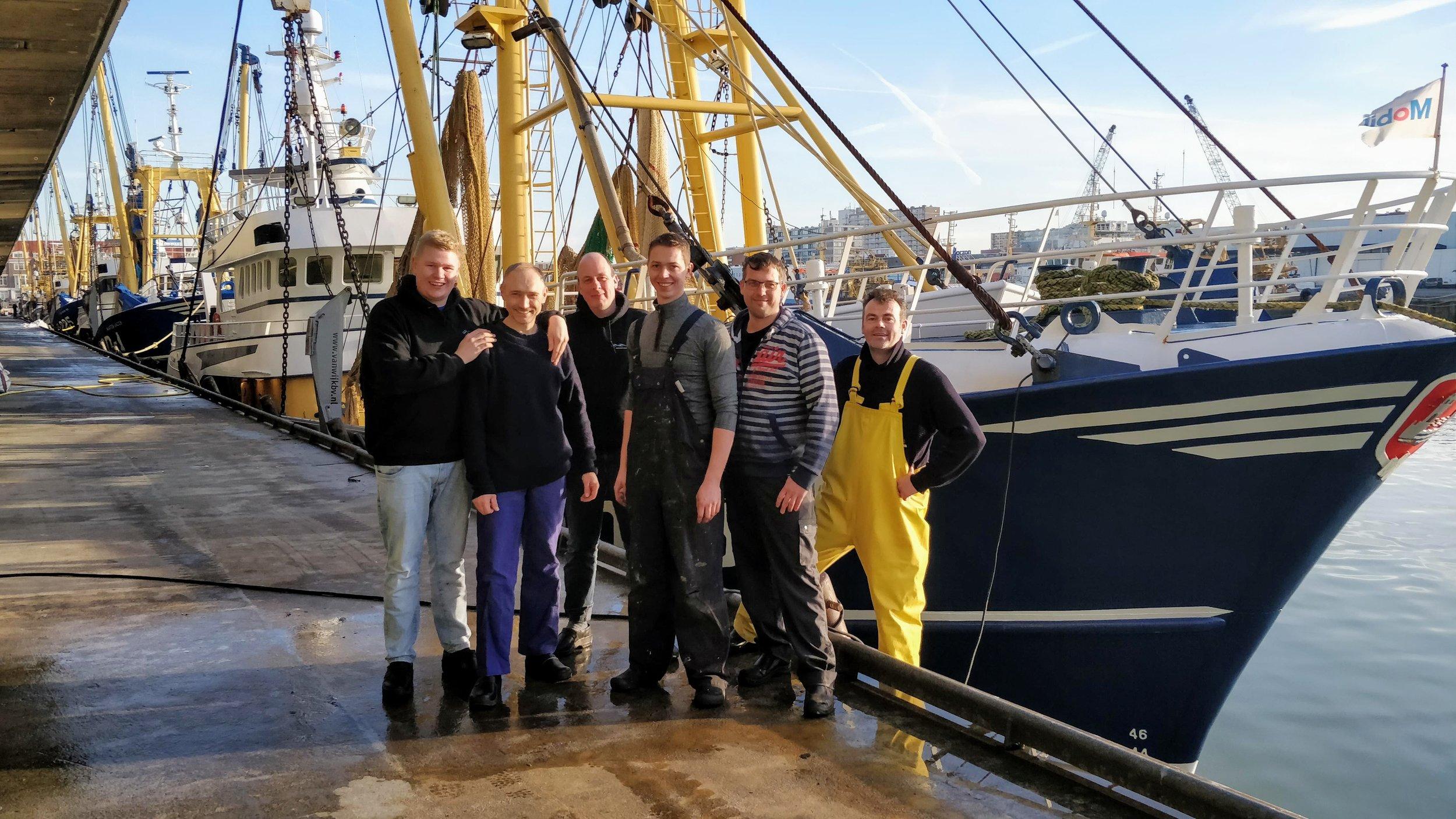 The crew of the Eben Haezer, Richard, Henk, Kees, Peter, Hans and Chris.