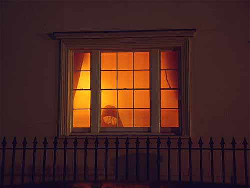 Viewing tungsten lighting from outdoors helps to reveal its true colour, from here it looks bright orange.
