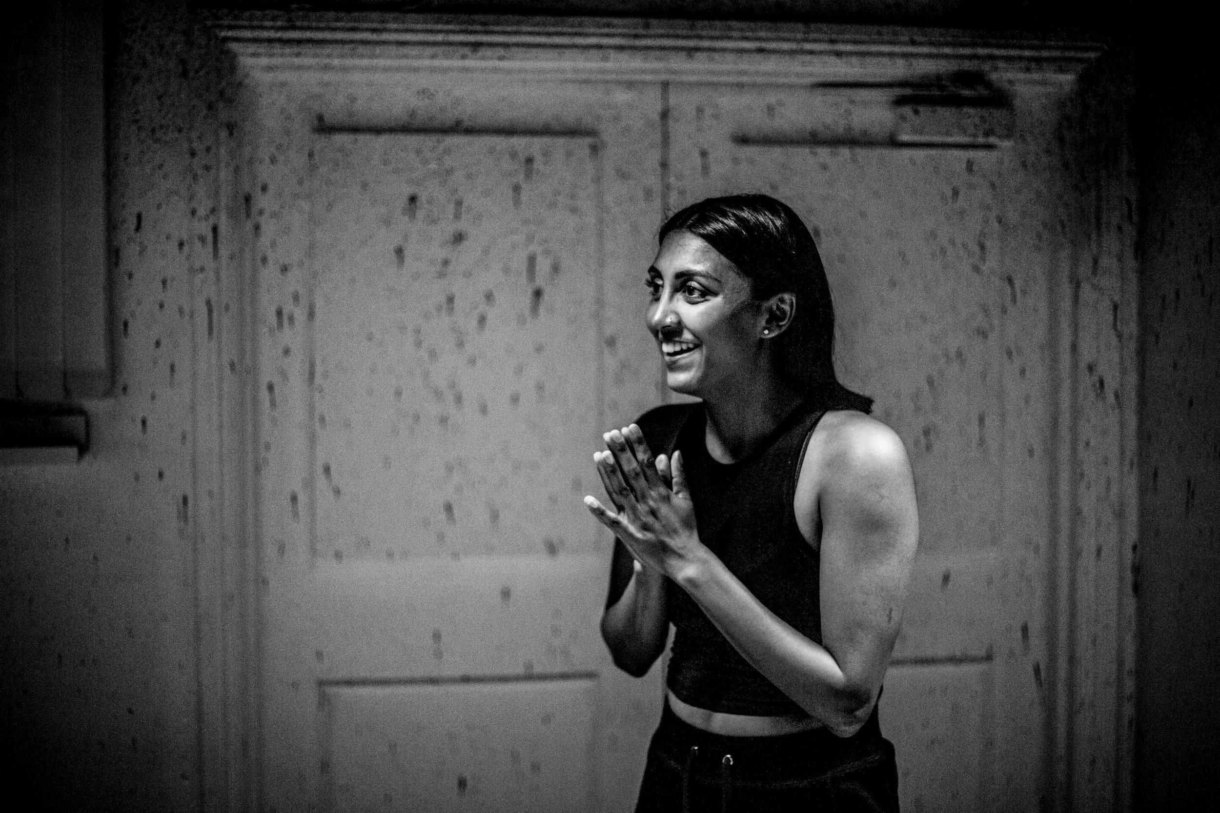 Natasha Patel in rehearsal for Cuttings. Photo courtesy of Cam Harle (2019).