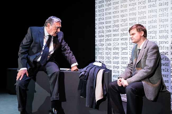 Ian Recordon and Matt Cranfield in Breaking the Code. Photo courtesy of Tower Theatre Company (2019).