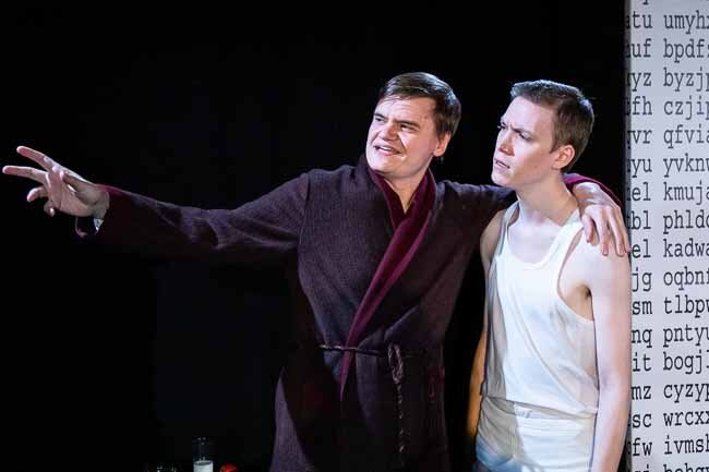 Matt Cranfield and Joe Lewis in Breaking the Code. Photo courtesy of Tower Theatre Company (2019).