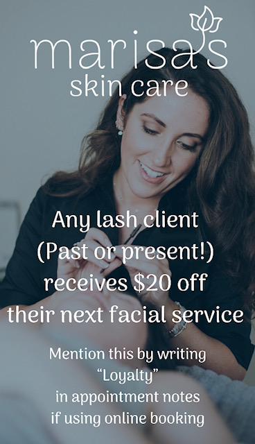 Starting May 1 & going through July, you'll receive $20 off ANY facial service booked with me. I want my lash clients (old or new) to start benefitting from my broad range of services!