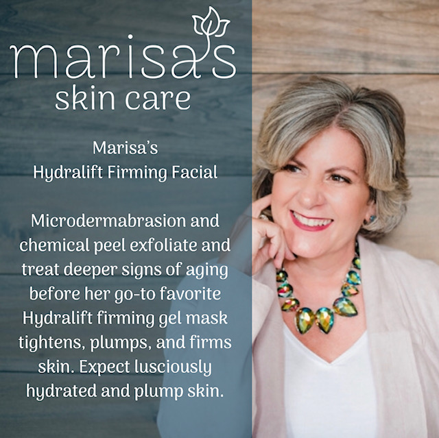 Marisa's Firming Facial - Marisa's facial includes a microdermabrasion service followed up with a chemical peel for a deeper, more thorough exfoliation. This helps treat deeper concerns like fine lines and wrinkles, along with pigmentation & scarring. Massage and mask with her favorite; the Hydralift Firming Gel Mask. It will soothe, tighten, plump, and firm skin. This mask will speed up cell renewal by up to 8 times and quickly penetrates the epidermis for intense, immediate hydration. You can expect hydrated & firmed skin. Ideal for clients looking for a fresh, firm complexion.