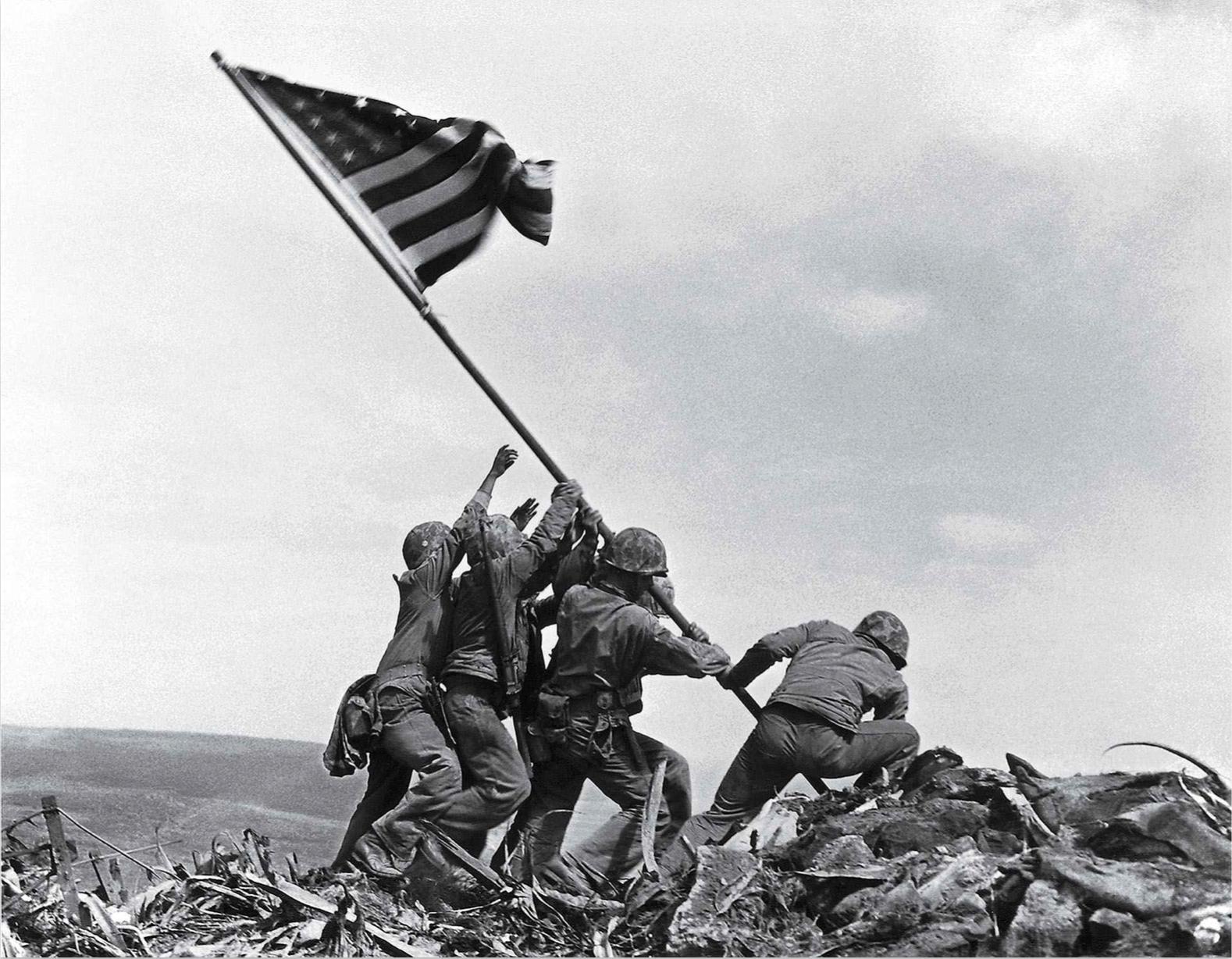 Flag Raising on Iwo Jima by Joe Rosenthal (1945)