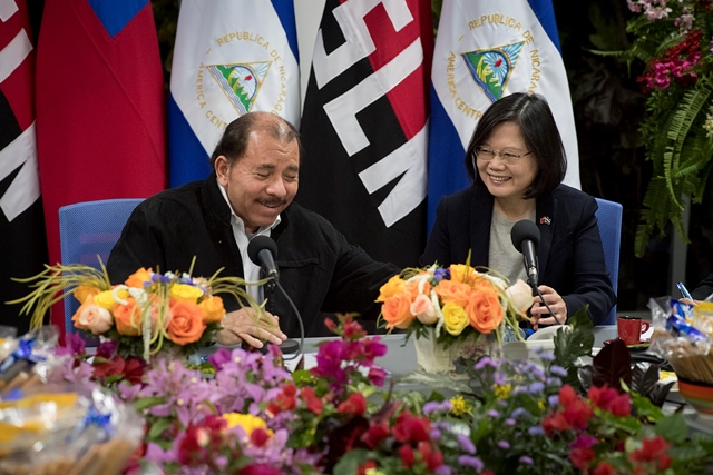 President Tsai Ing-Wen and President Daniel Ortega meet in Managua in January 2017