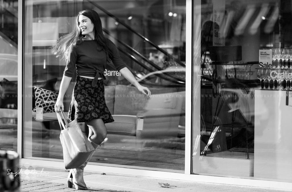 Blue Back Square, West Hartford Center, Photographer, Fashion, Red Floral Skirt, Crate and Barrel