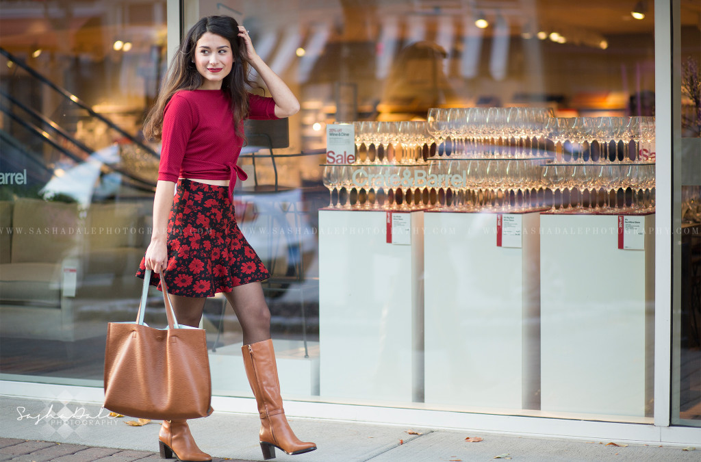 Blue Back Square, West Hartford Center, Photographer, Fashion, Red Floral Skirt, Crate and Barrel