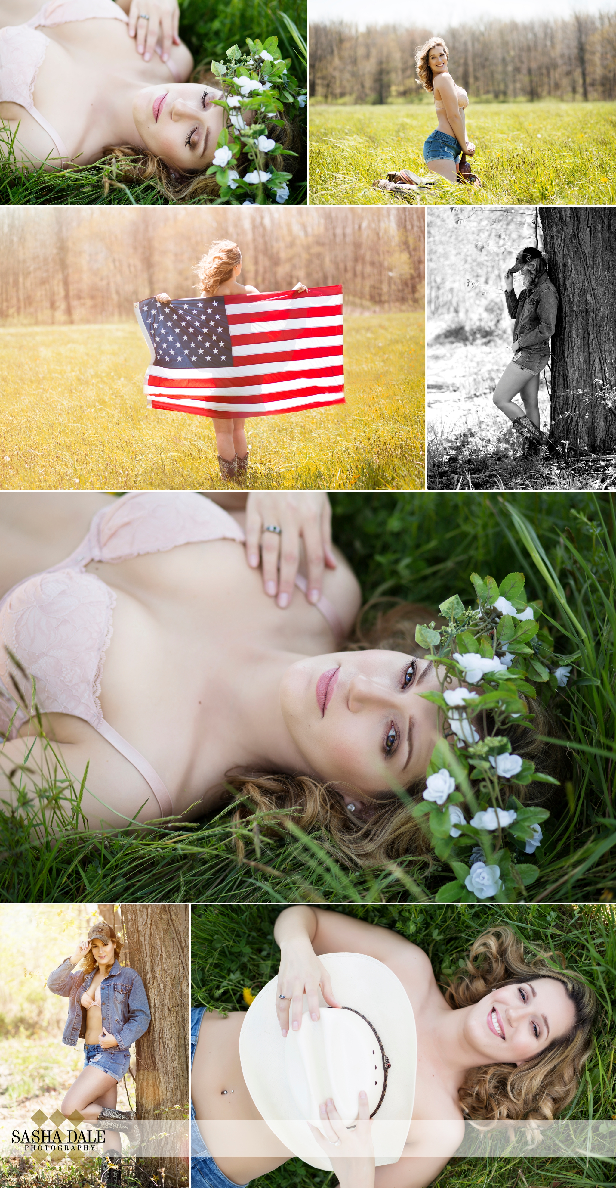 Outdoor boudoir, cowgirl, cowboy boots, new preston ct, connecticut boudoir photographer, american flag, americana