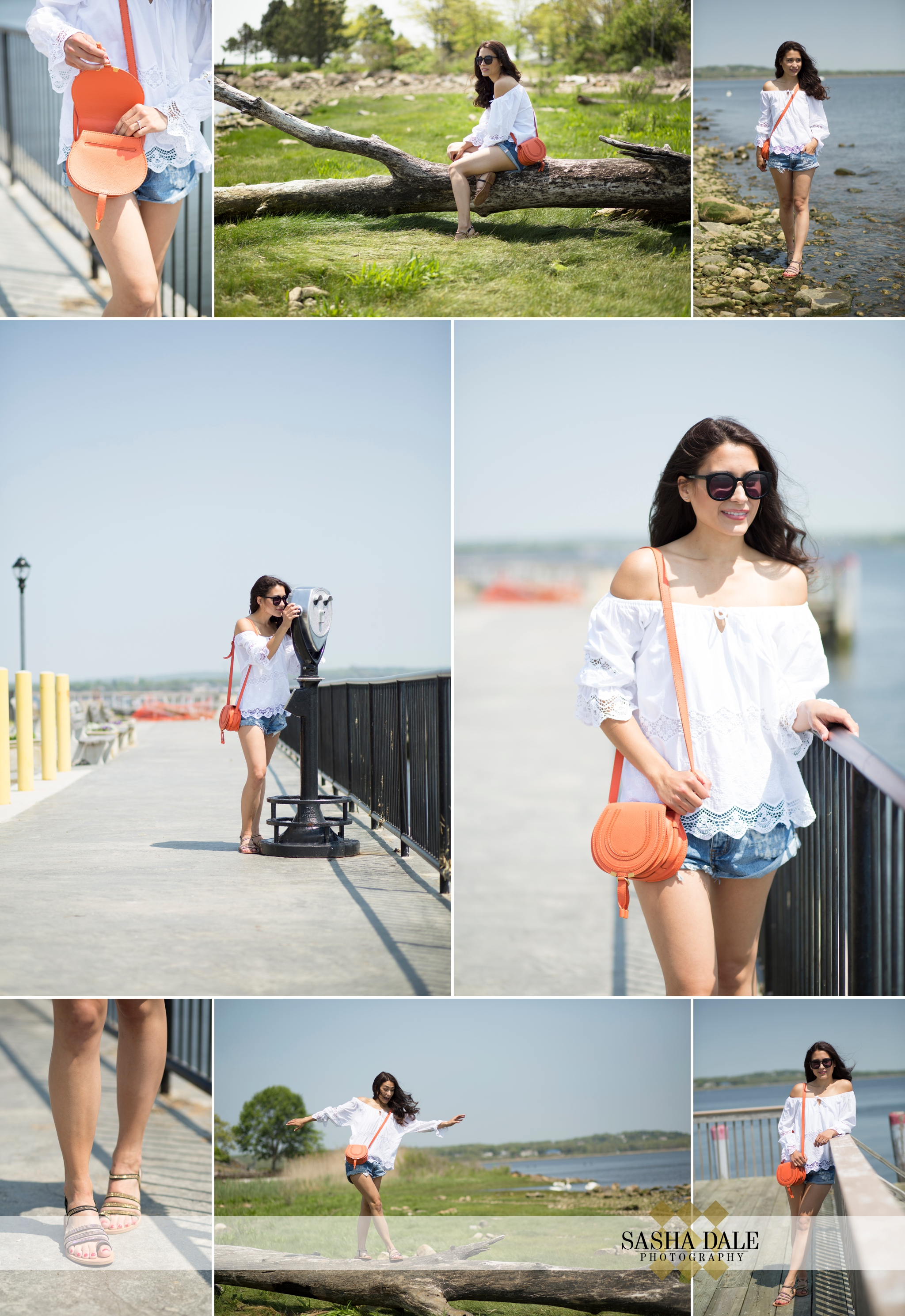 fashion blogger, beach, bathing suit, red dress, white top, Old Saybrook CT, Jean Shorts, Summer, Beach Bag, Poms