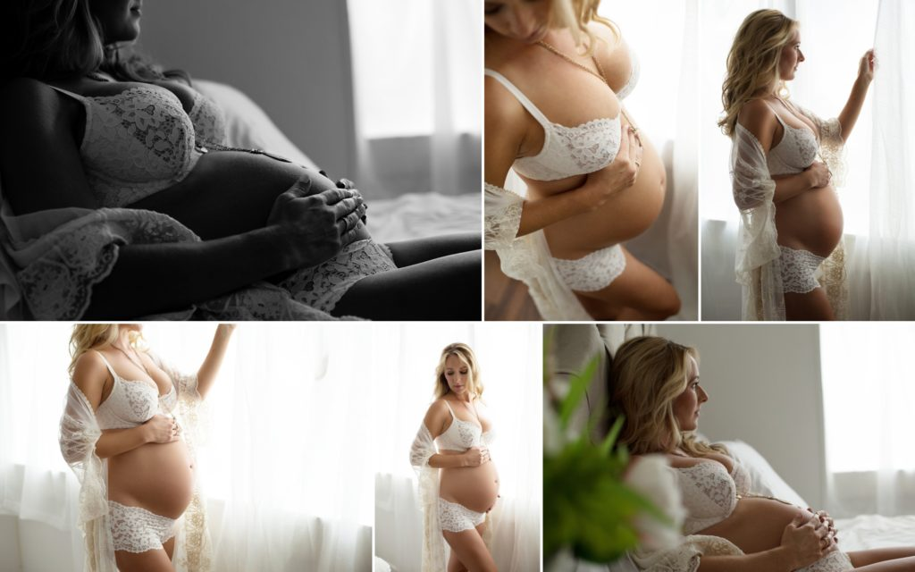 maternity photos, lingerie, boudoir, light and airy