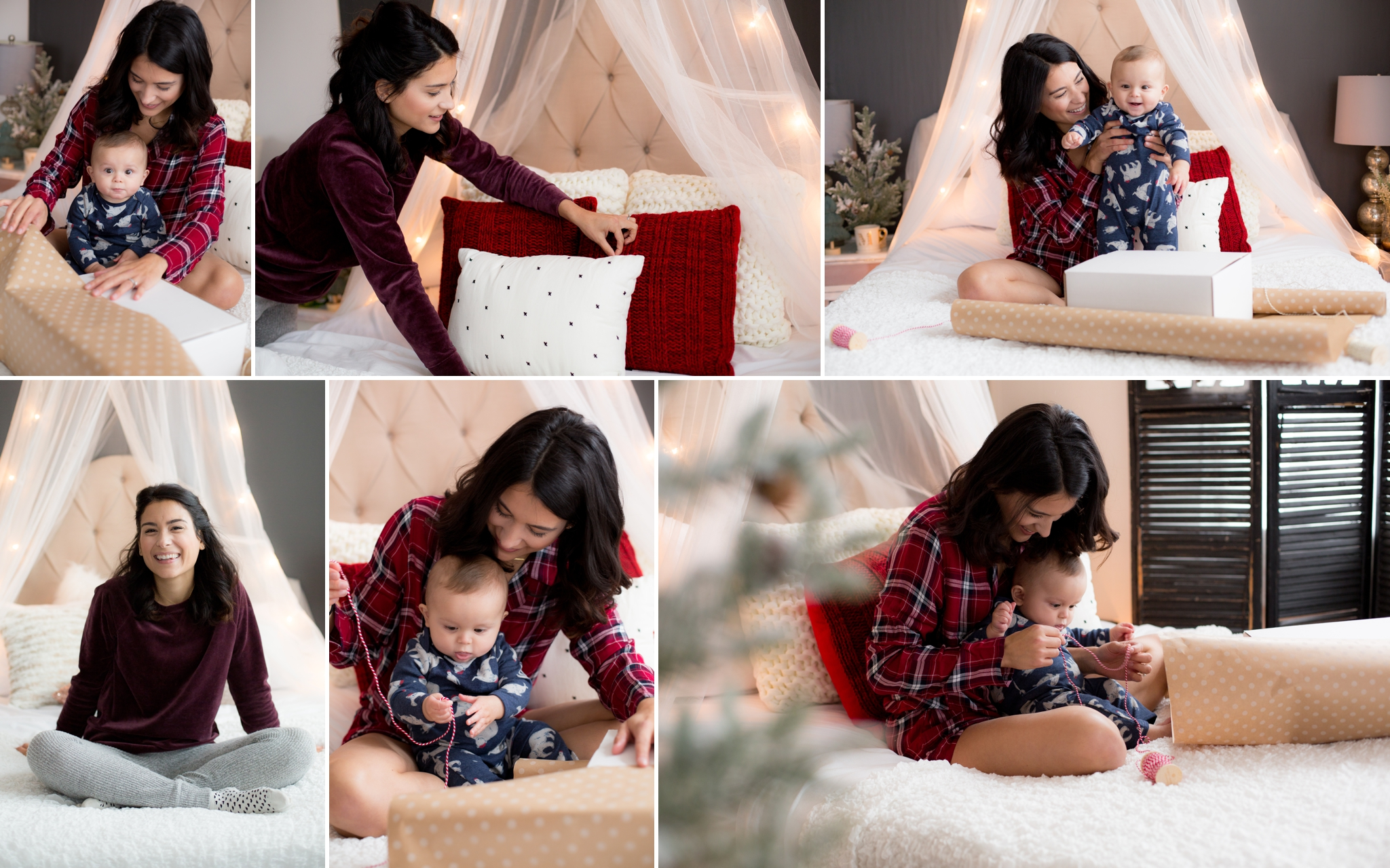 Holiday gift wrap, red flannel, christmas tree, family holiday mini session