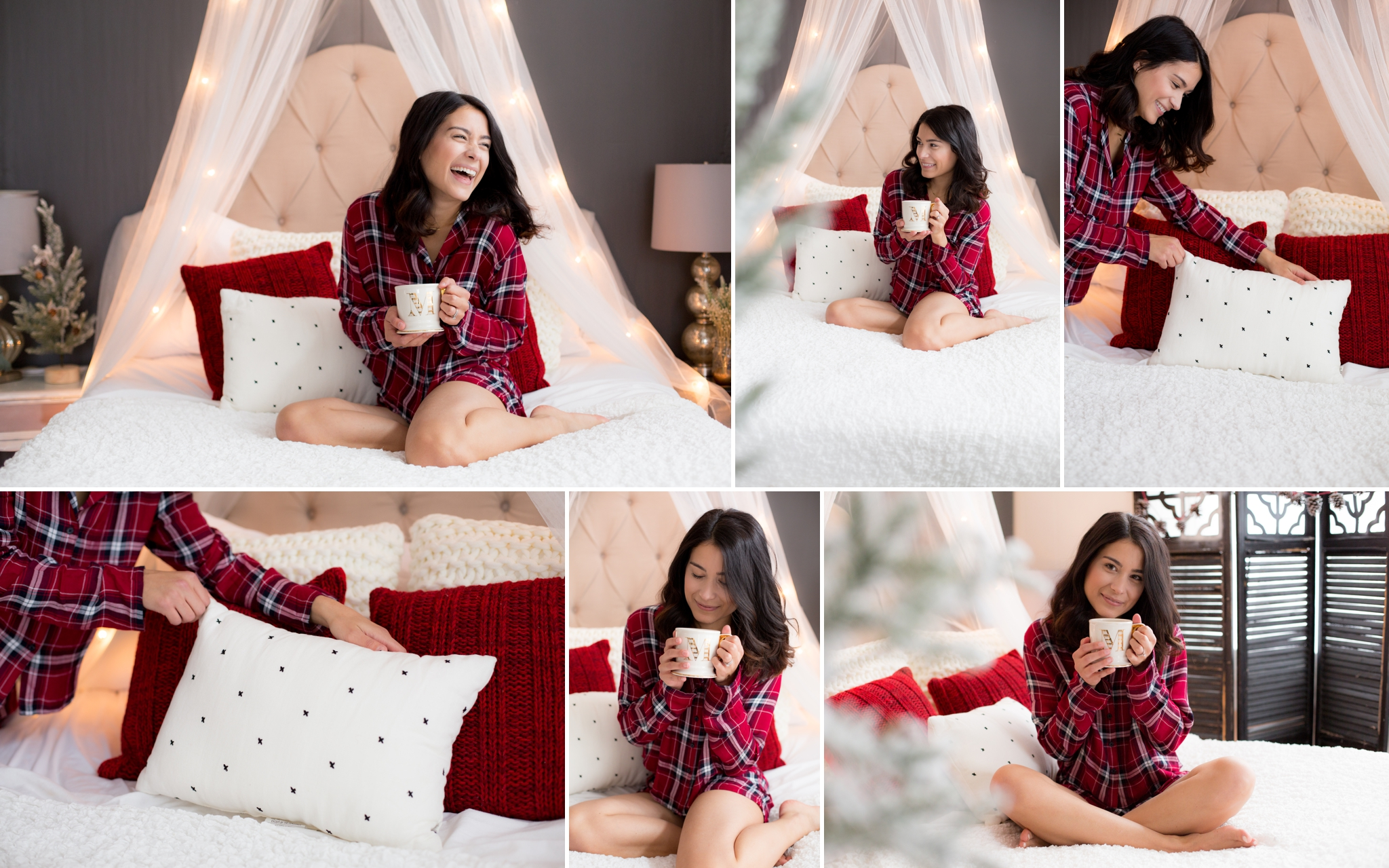 holiday boudoir, flannel nighty, christmas tree