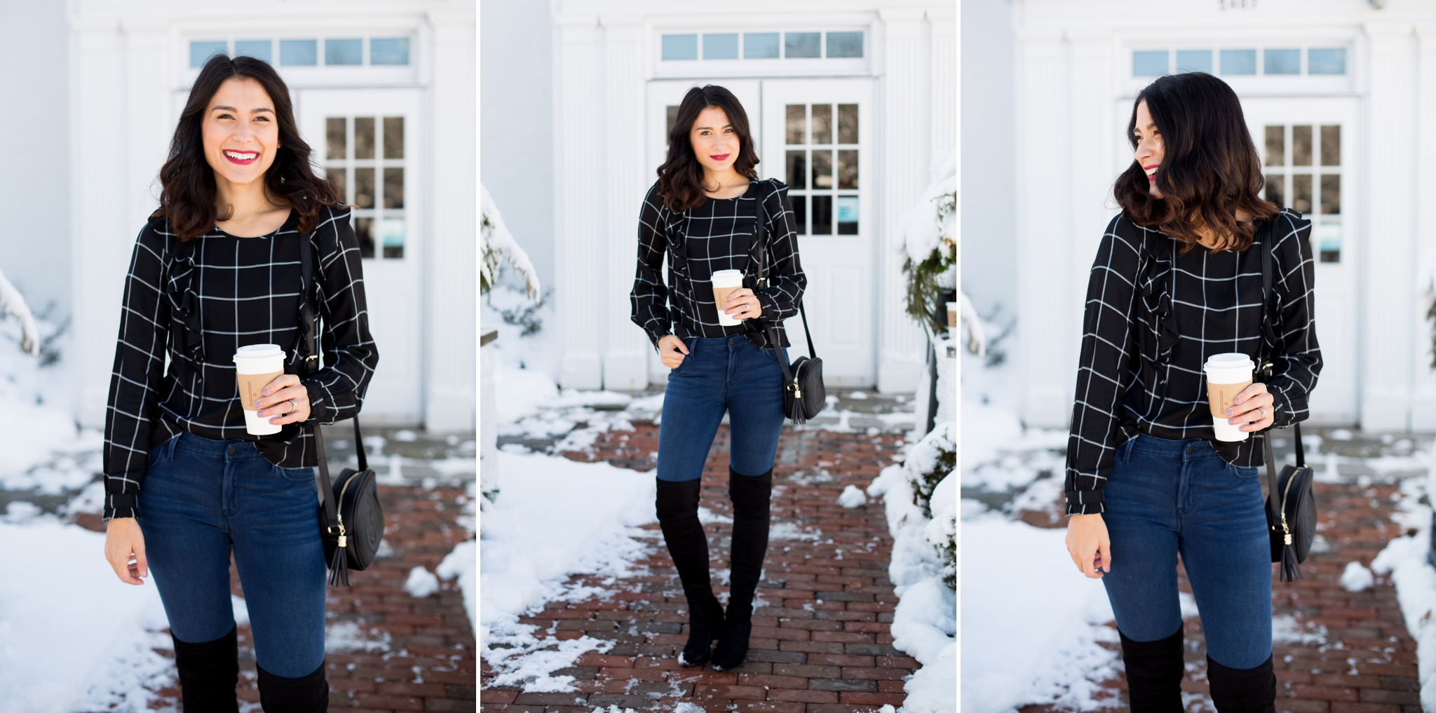 Snowy photos, winter wonderland, blog photography, pictures in the snow, plaid shirt, knee high boots