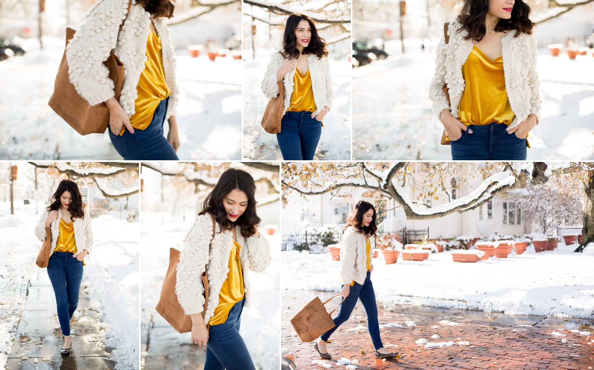 Snowy photos, winter wonderland, blog photography, pictures in the snow, snow white, yellow velvet, leopard flats, chicwish