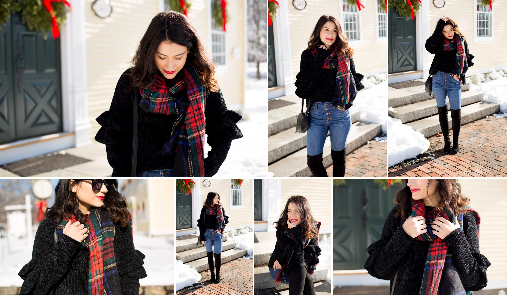 Snowy photos, winter wonderland, blog photography, pictures in the snow, flannel scarf, all black
