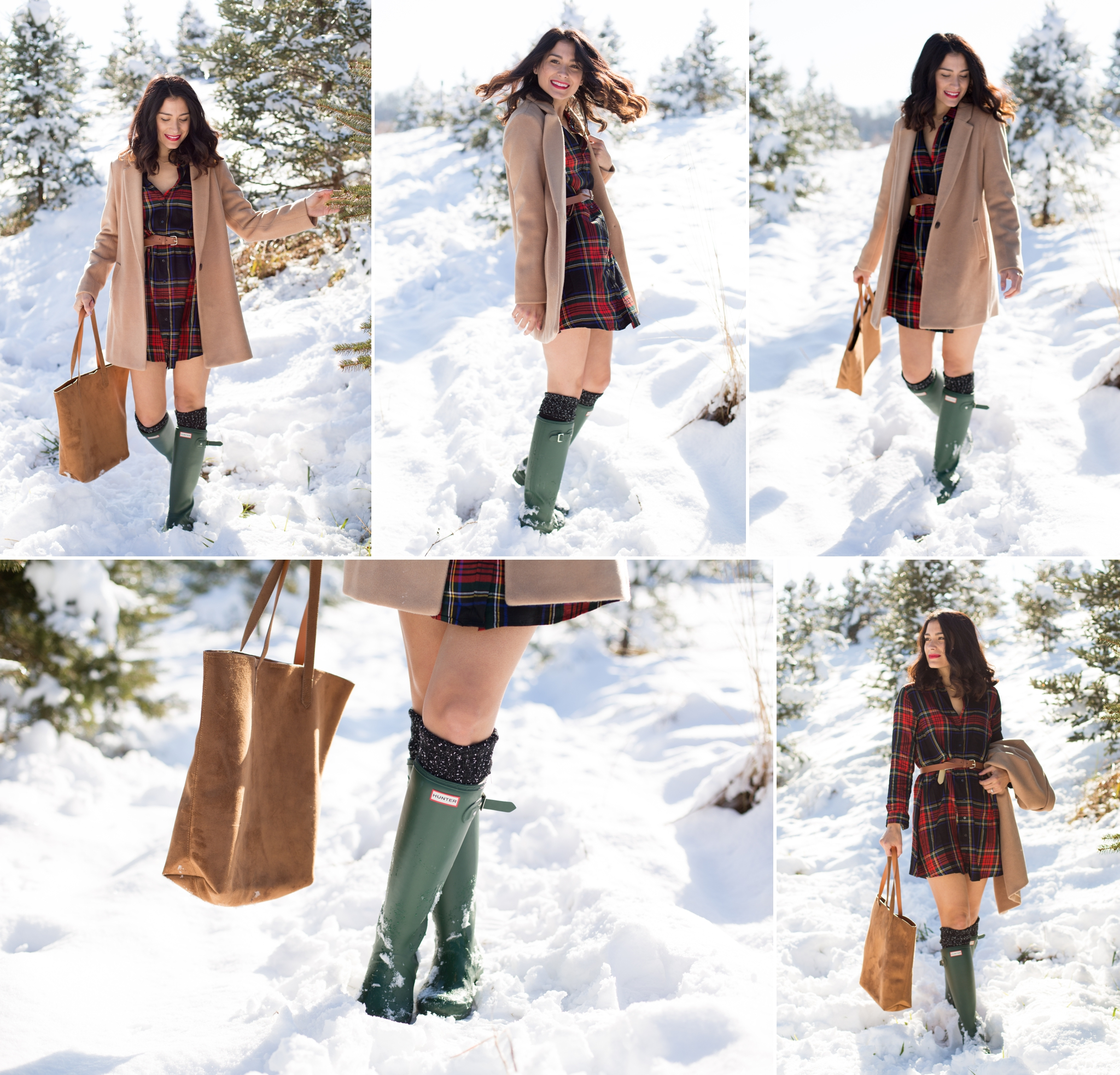 Snowy photos, winter wonderland, blog photography, pictures in the snow, flannel dress, green hunter boots