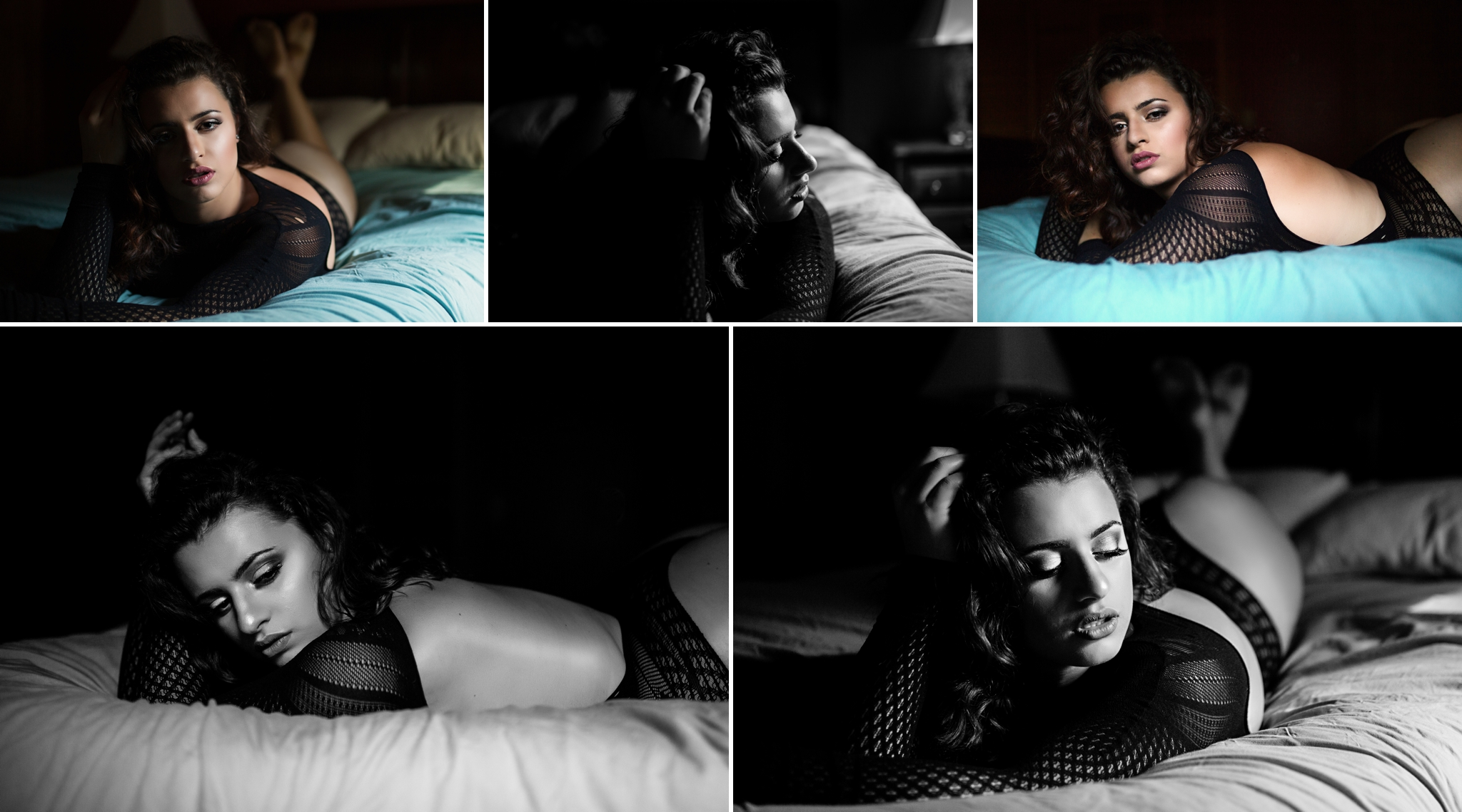 Sasha Dale Photography, Dark moody boudoir, black and white, curvy girl, vogue