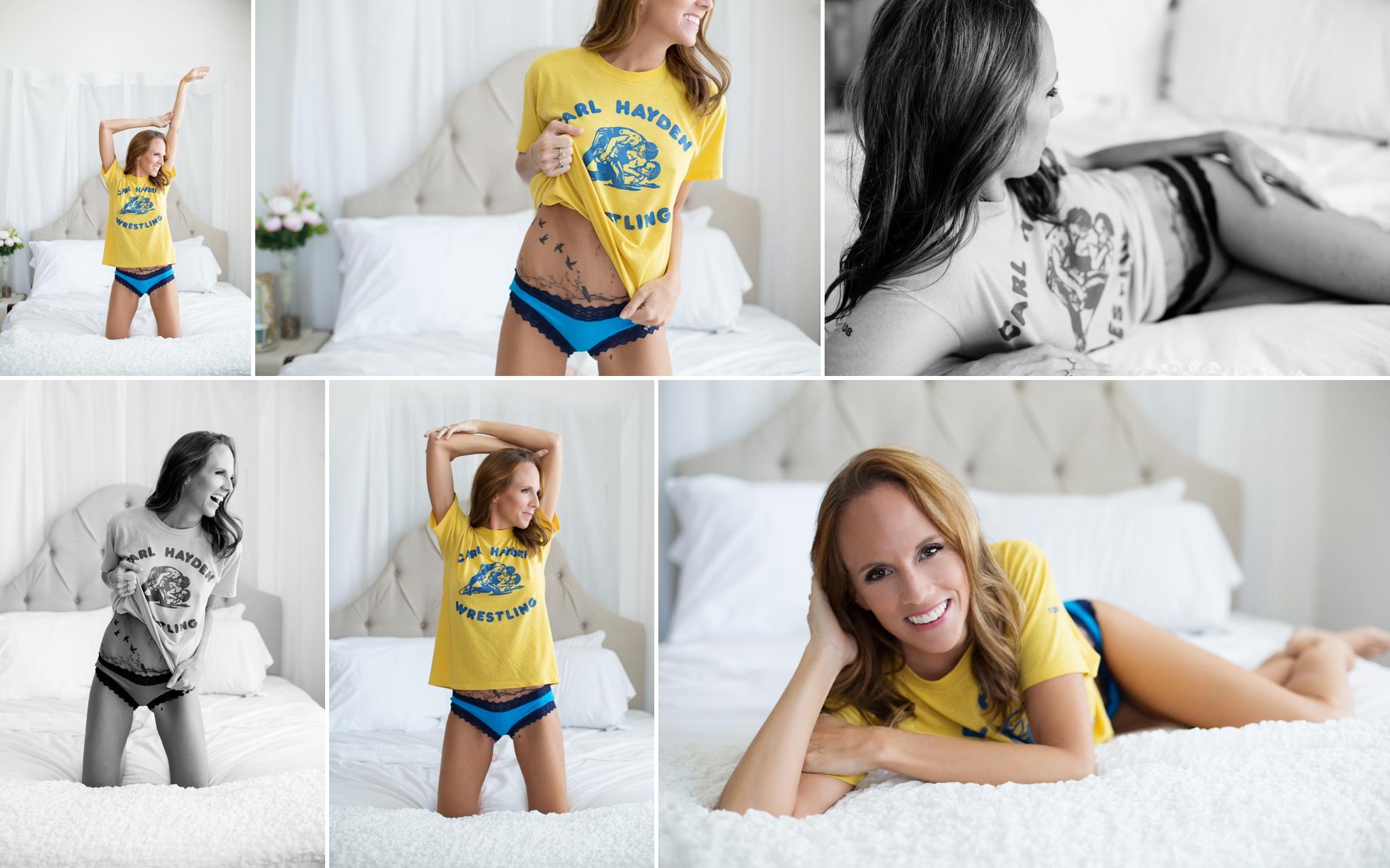 Sasha Dale Photography, surrogate mother, boudoir portraits, his shirt, tshirt, cozy shirt, flirty
