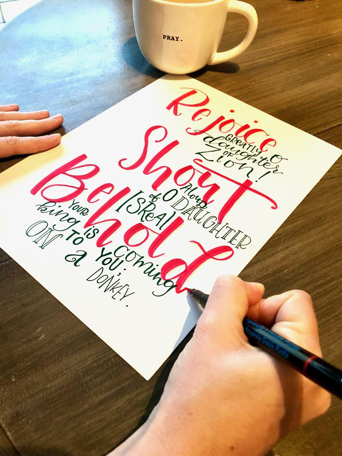 Follow  @jmcpeak  for her hand-lettering series on the Advent season.