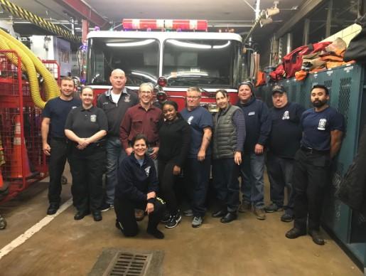Santa Helpers preparing the Hillandale Volunteer Fire Department Engine