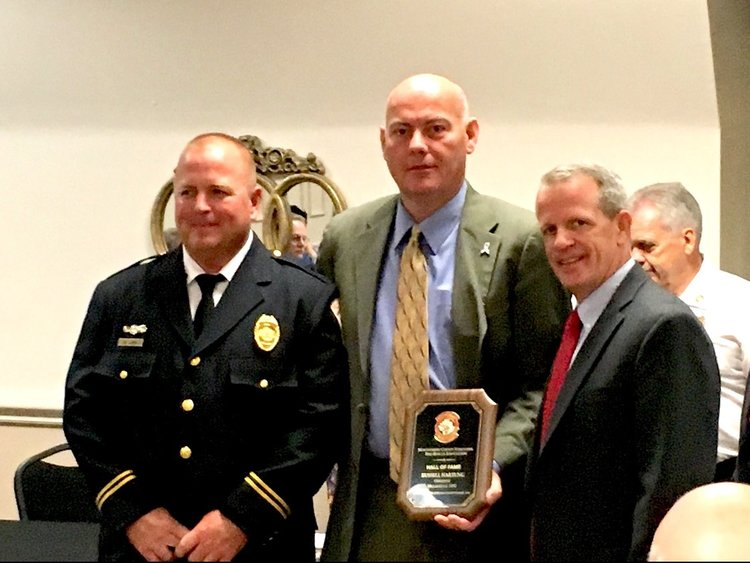 """Congratulations to Pres. Hartung - Congratulations to President Hartung for receiving the Montgomery County Volunteer Fire Rescue Association """"Hall of Fame"""" Award on September 20th, 2018! Pictures can be found here. (from left to right, Chief Mark Lamb, President Russell Hartung, Chief Michael McAdams)"""