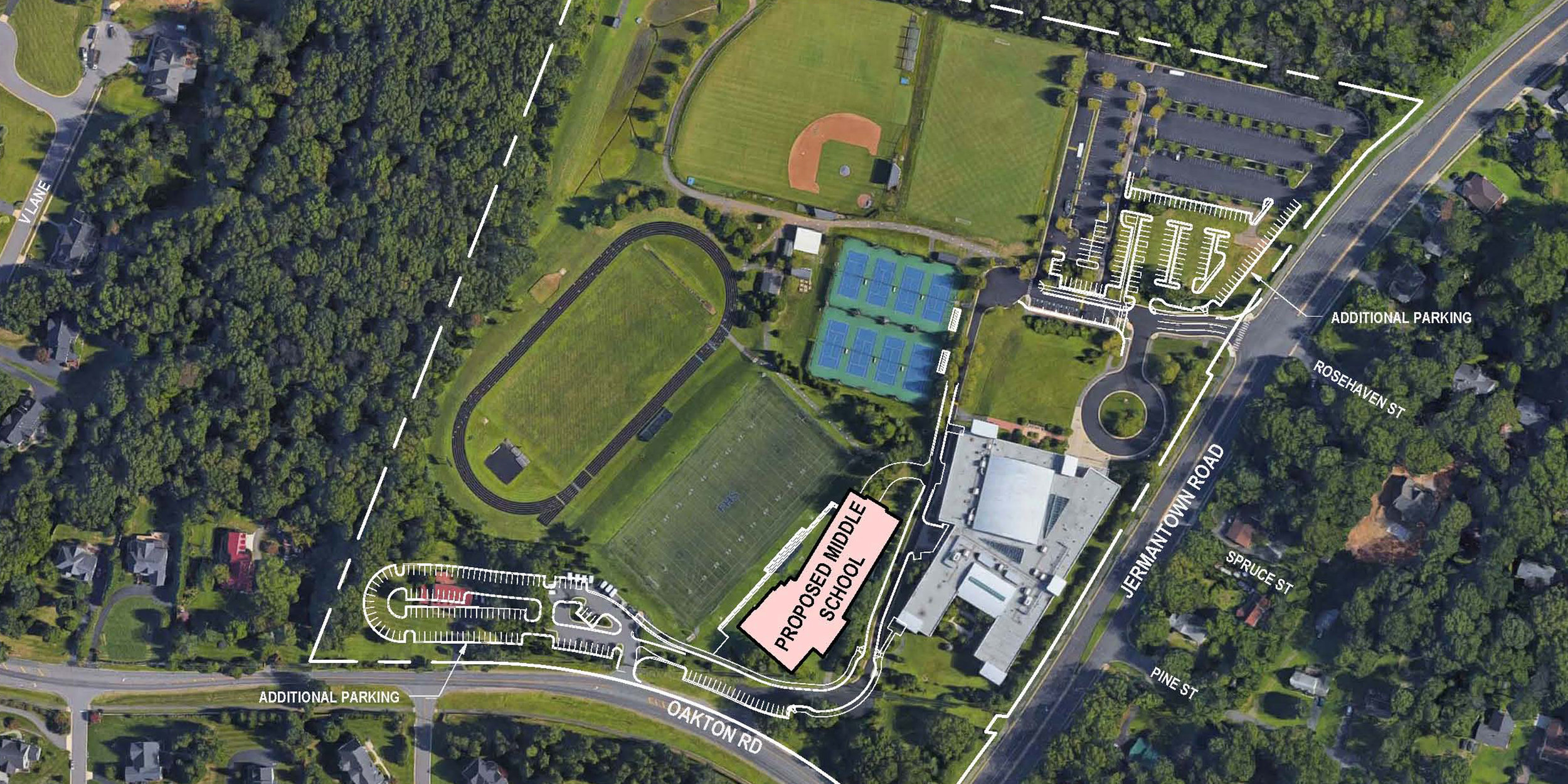 Site plan  showing the location of the new Middle School building, new parking off Oakton Road, and additional parking below the Upper School off Jermantown Road.