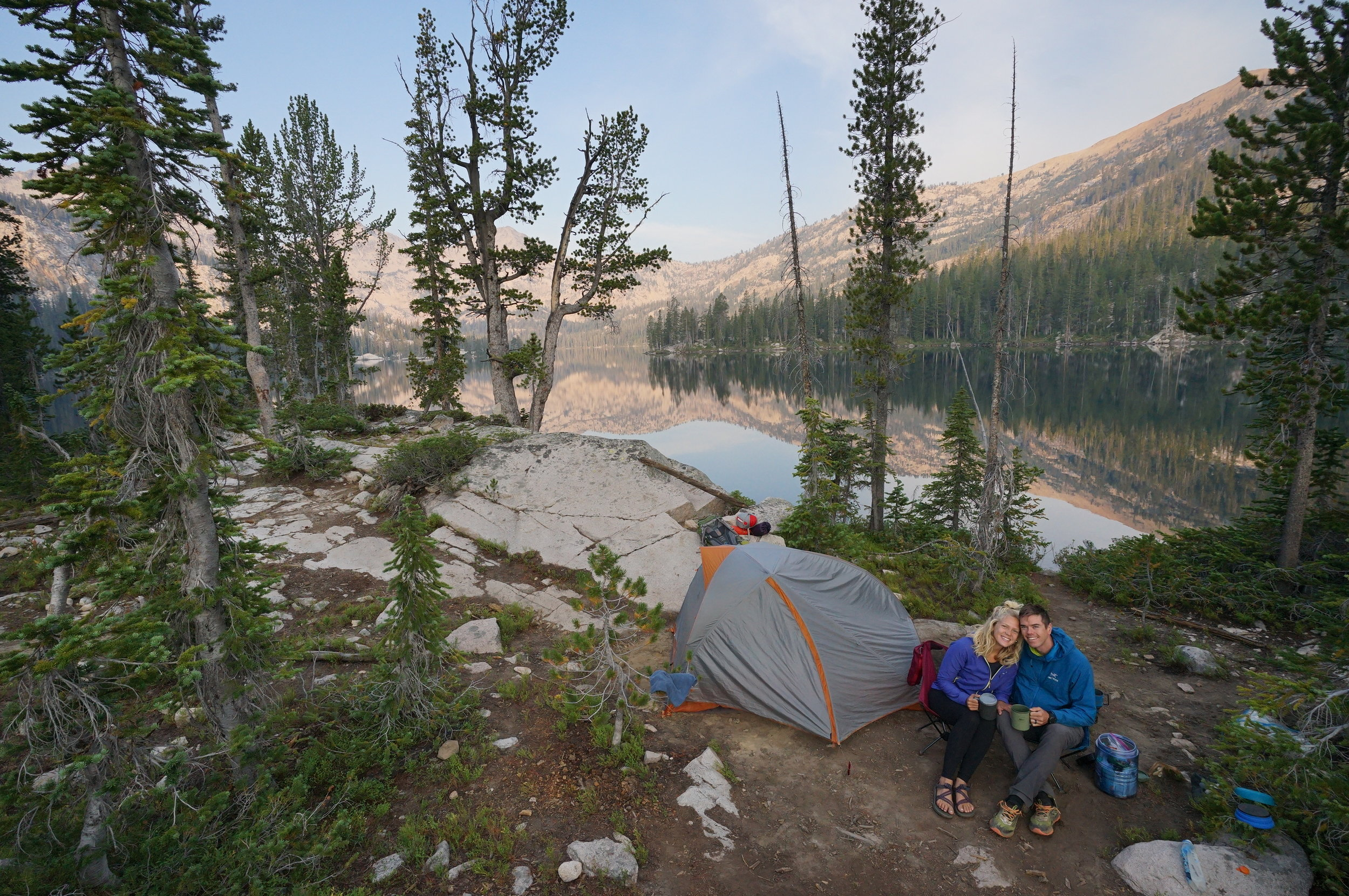 Happy campers backpacking in the Sawtooth Mountains during our third week on the road.
