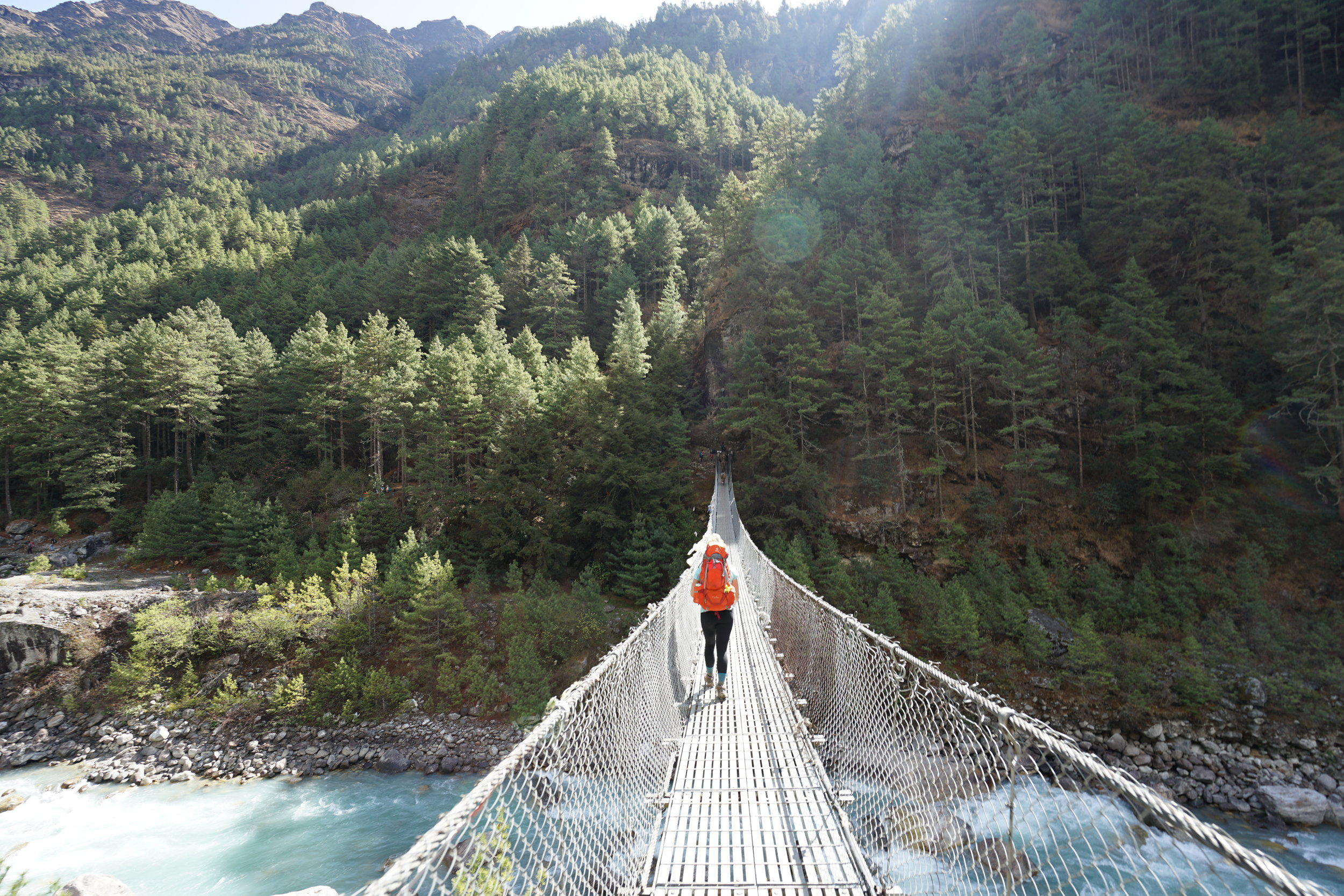 One of many wire rope bridges in Nepal