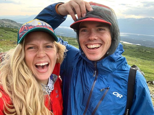 Just a couple a happy campers trying our best to not be taken away by thousands of mosquitoes in Alaska! The head nets were completely worth it 👌🏻