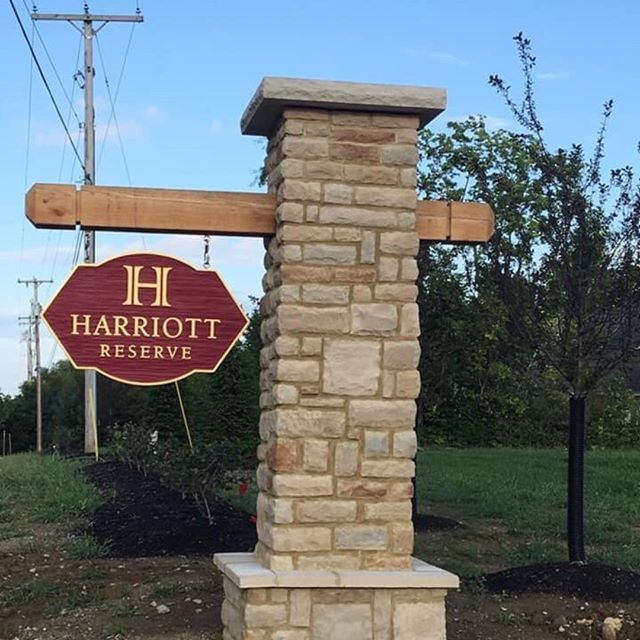 Harriott Reserve subdivision entry sign project by Ohio Groundskeeping.