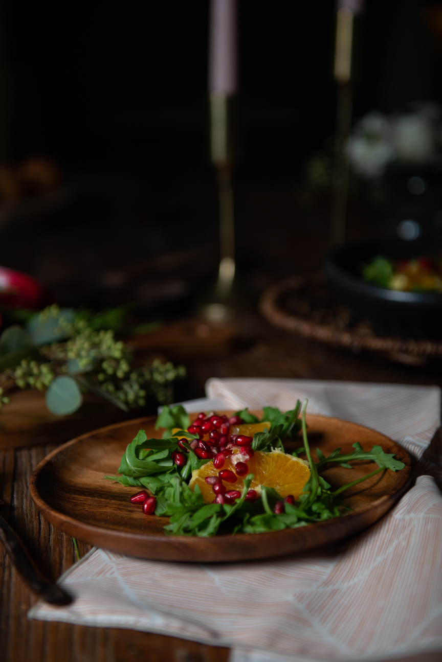 Holiday Fete Recipes | Holiday Recipes | Christmas Recipes | Festive Recipes | Winter Recipes | Food Styling | Food Photography | Food and Prop Styling | Food Styling Ideas | Food Photography Ideas| Vegetarian Holiday Recipes | Holiday Ideas | Winter Salad with Oranges and Pomegranate | Paprika Southern