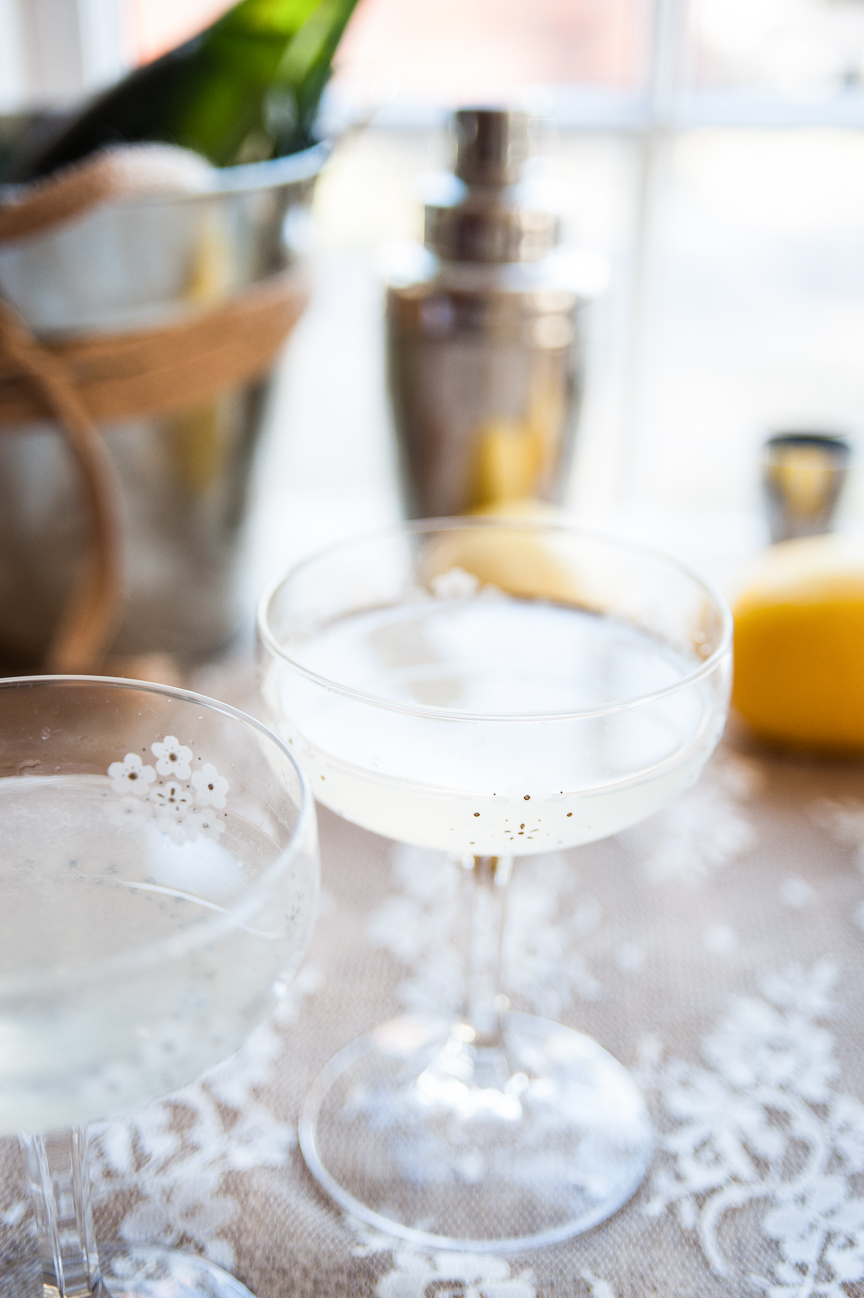 Romantic Dinner a Deux | Valentine's Day | Valentine's Day Ideas | Valentine's Day Cocktails | French 75 | Gin Cocktail | Romantic Cocktail Ideas | Food Styling | Food Photography | Food and Prop Styling | Photo Styling Ideas | Food Styling Ideas | Paprika Southern