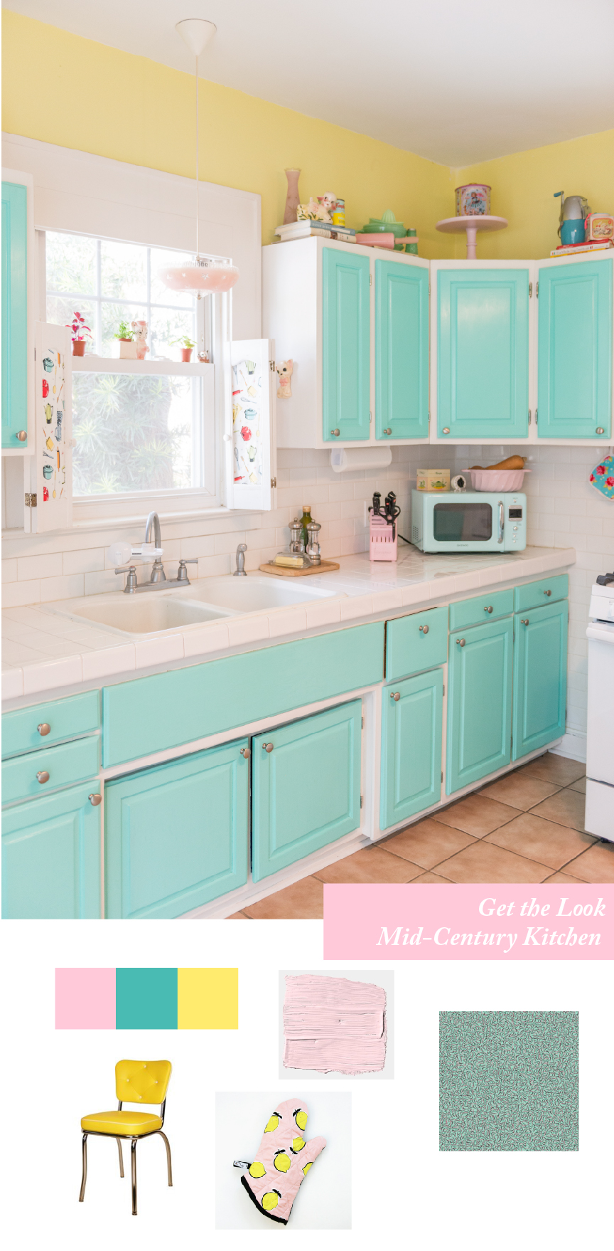 Get the Look | Southern Spring Interiors | Mid-Century Kitchen | Retro Kitchen | Retro Kitchen Decor | Retro Home Decor | Mid-Century Home Decor | Mid-Century Kitchen Ideas | Aqua Kitchen | Colorful Kitchen | Vintage Kitchen | Vintage Home Decor Ideas | Alice & Pearl | Paprika Southern