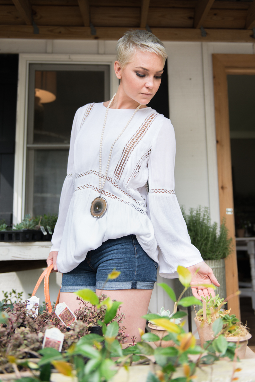 Welcoming Summer | Summer Style | Summer Outfit | Summer Outfit Ideas | Boho Style | Boho Outfit Ideas | Summer Outfits for Women | Casual Summer Outfit | Kelsey Bucci | Paprika Southern | White Top | Denim Shorts