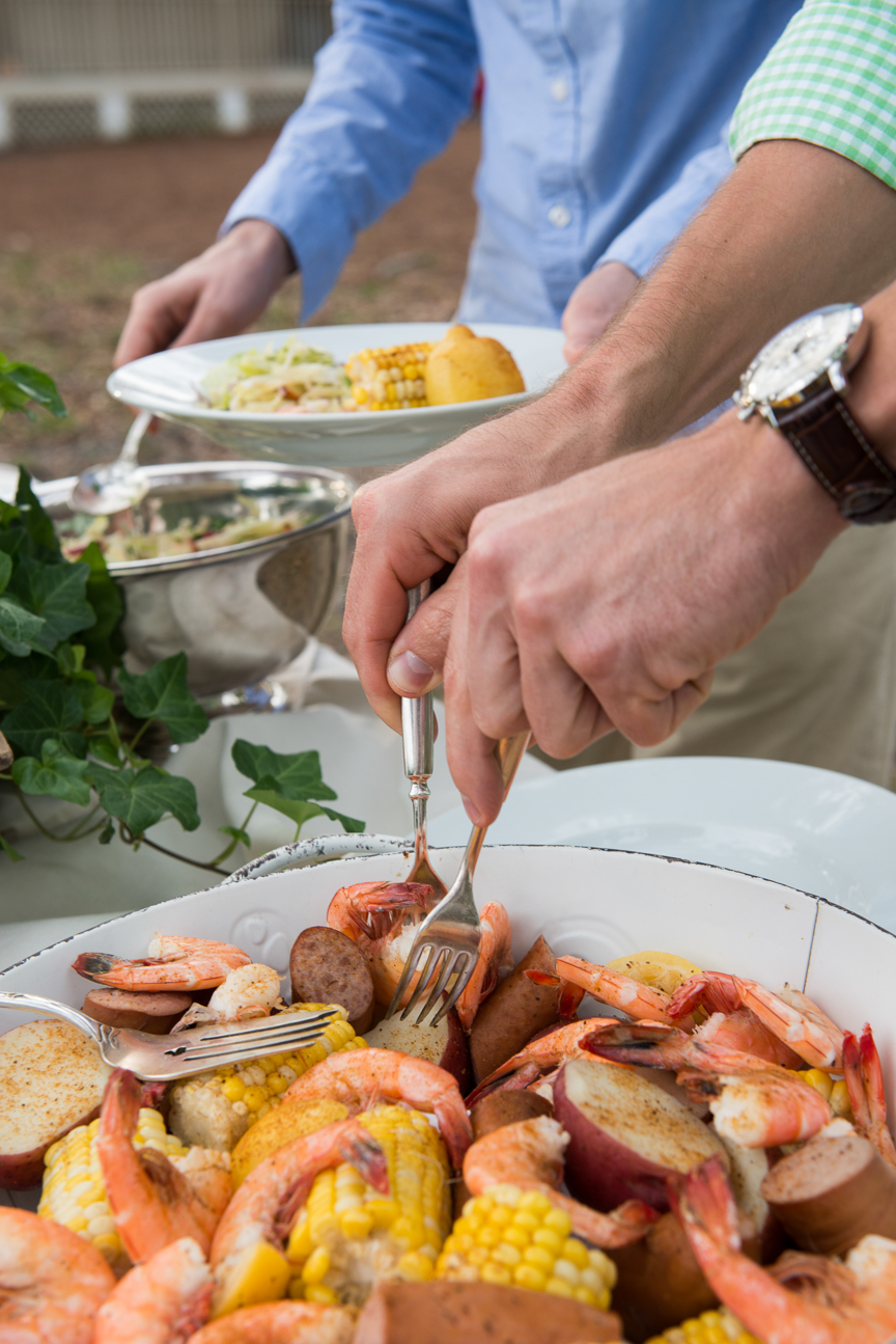 Lowcountry Boil | Lowcountry Boil Recipe | Lowcountry Boil Party | Southern Style | Summer Party Ideas | Hostess Ideas | Potato Recipes | Shrimp Recipes | Food Photography | Food Styling | Food Photography and Styling | Southern Food | Preppy Style | Tablescape | Summer Table | Kim Daniels | Paprika Southern
