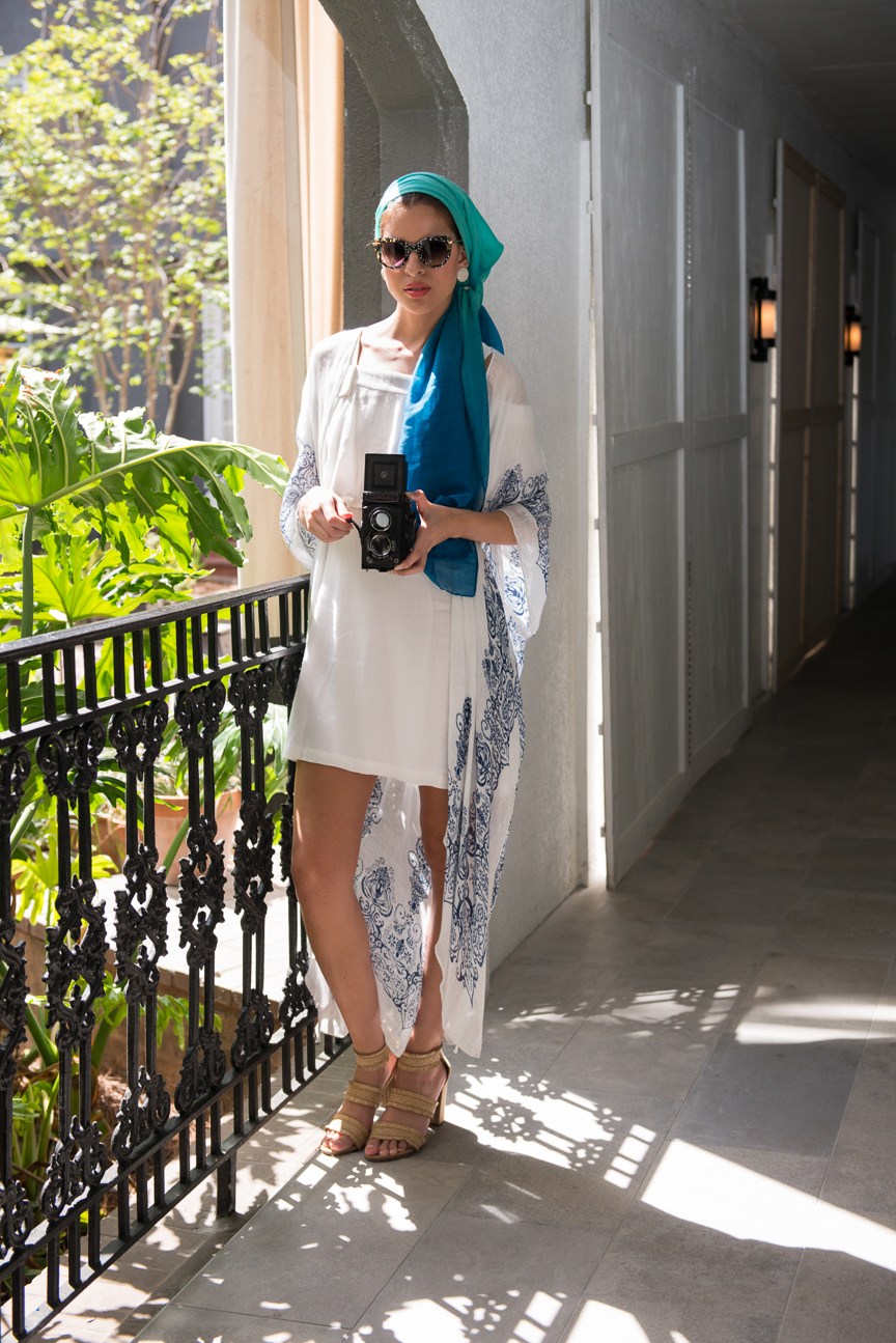 White and Blue Summer Outfit | Escape to Summer Fashion | Summer Outfit | Women's Summer Outfit | Summer Outfit Ideas for Women| Resort Look | Outfit Ideas for Vacation | Tropical Vacation Outfit | Vacation Outfit Inspiration | Classic Summer Outfit Inspiration | Paprika Southern