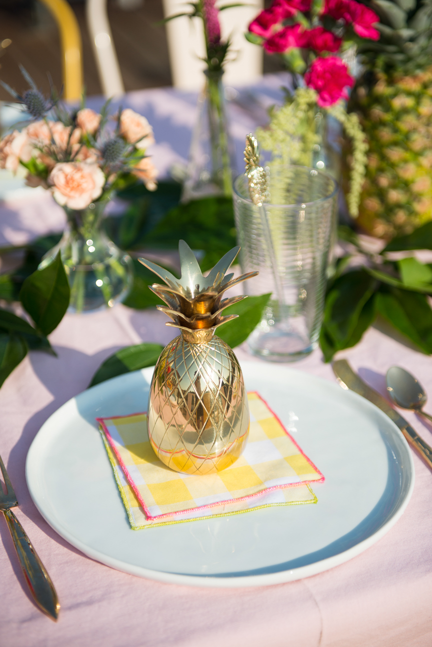 Summer Tablescape | Tropical Summer Tablescape | Summer Tablescape Bright Colors | Colorful Summer Table | Colorful Summer Centerpiece | Outdoor Dining | Pineapple Tablescape | Summer Table Ideas | Summer Party Ideas | Paprika Southern