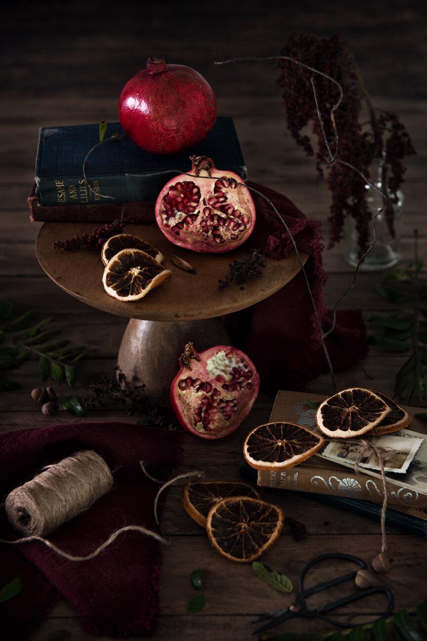 Food Photography | Food Styling | Pomegranates | Winter | Food Photography and Styling | Prop Styling | Still Life | Holiday Morning | Winter Morning | Visual Storytelling | The Art of Visual Storytelling | Visual Storyteller | Paprika Southern