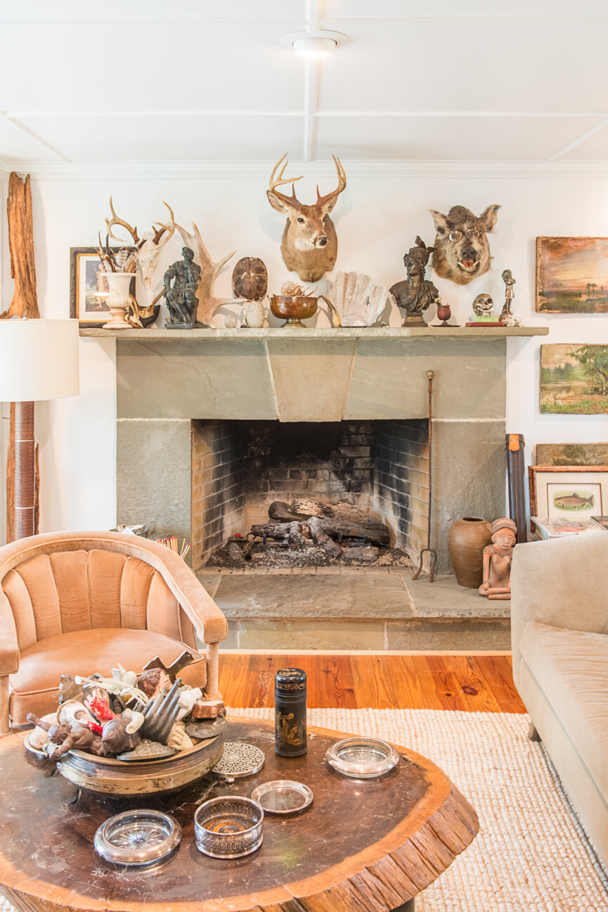 Soulful and Storied   At Home with Bellamy Murphy   Southern Home   Home Decor   Coastal Home Decor   Interior   Interior Inspiration   Den Ideas   Fireplace Ideas   Warm Living Room  Home Decor Ideas   Interior Decor   Paprika Southern