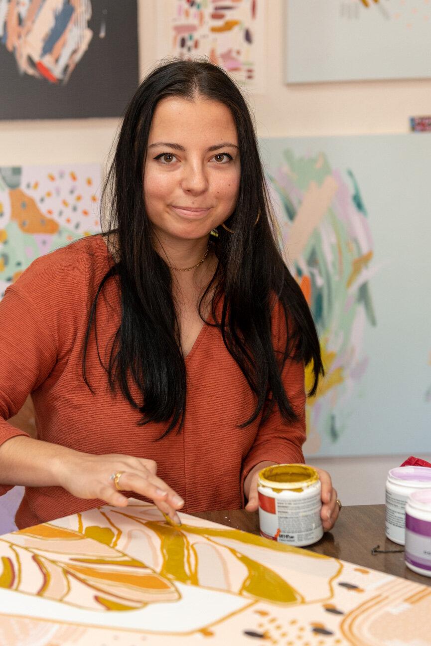 Julu   Juliana Lupacchino, Savannah, GA   Artist   Painter   Muralist   Colorful Abstract Paintings   Artist Studio    Paprika Southern
