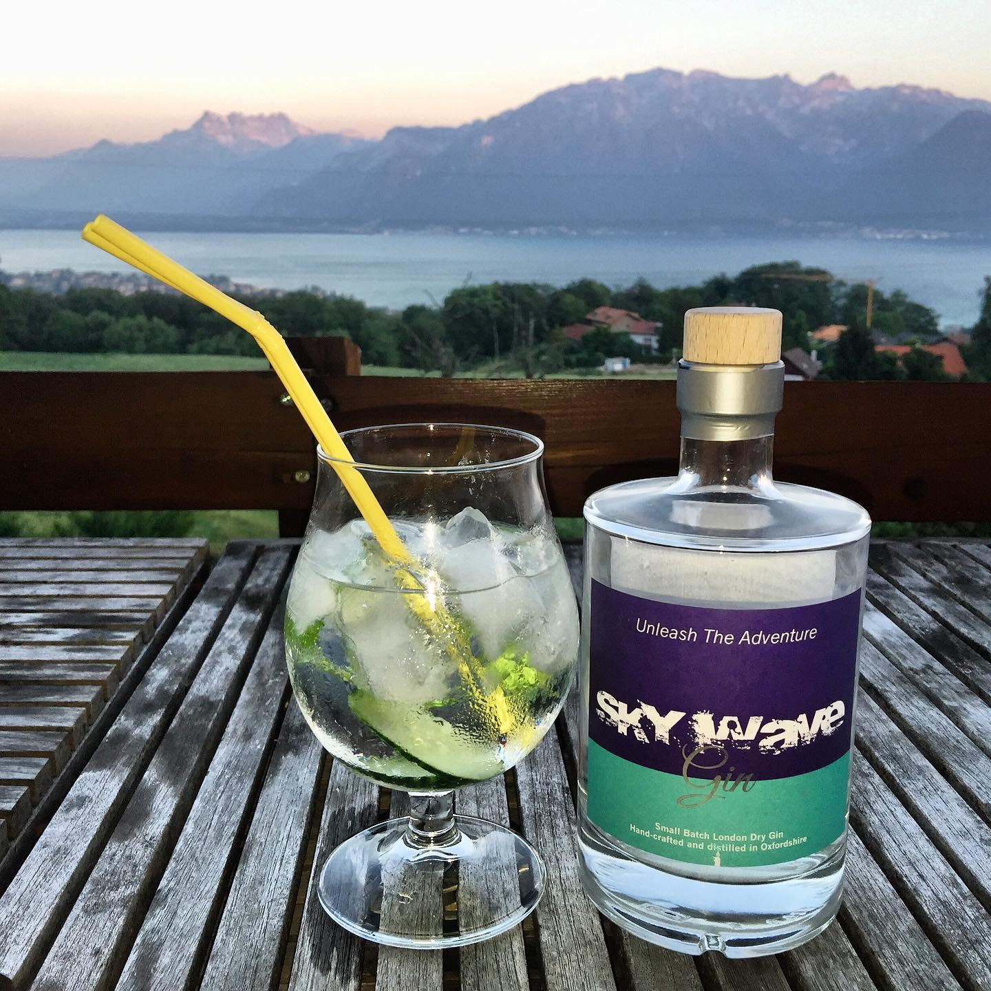Sky Wave Gin enjoying a relaxing view over Lake Geneva, Switzerland