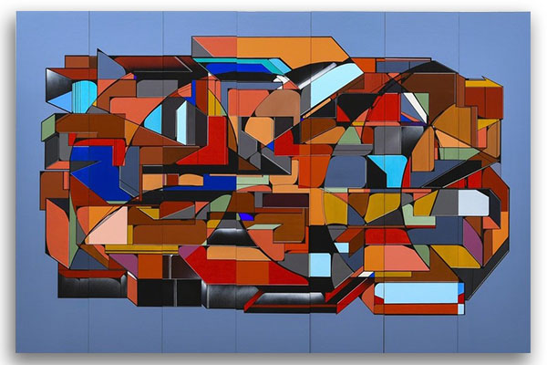 Progresso y para Adelante Mixed Media on Wood Panel 84 × 126 in; 213.4 × 320 cm 2010