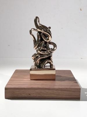 Infinitude 3 High-Polished Bronze, Walnut and Acrylic 7 1/2 × 5 1/2 × 5 1/2 in; 19.1 × 14 × 14 cm Infinitude 2017