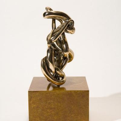"Friendly Movement 2 Bronze on a Wooden Base 7"" x 3"" x 2"" Friendly Movement 2007"