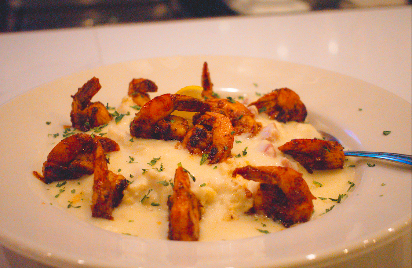 Shrimp & Grits - Guinness BBQ basted Gulf shrimp. Pancetta-garlic cream sauce. Creamy Carolina stone grits.