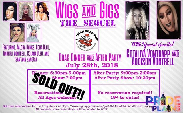 Hope you got your ticket quick because we are officially sold out for the Wigs and Gigs Drag Dinner!! #IBP #prideplains