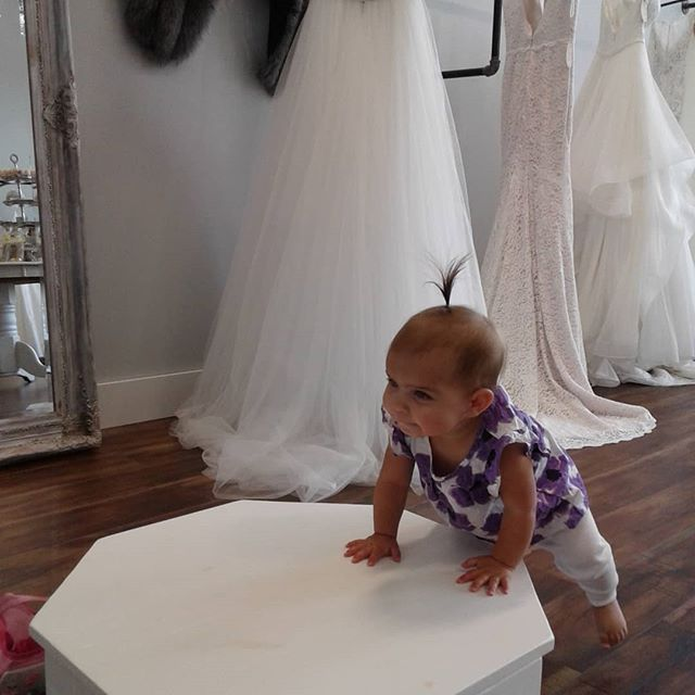 """The Little Miss loved """"shopping"""" for wedding dresses while @nigel.bauer and I were in a meeting @bridalavenueyeg  Princess J wanted to try on all the dresses and accessories ♡ @risenhealth  #baby #wedding #weddingshopping #nutrition #nutritionblogger #healthcoach #healthcoaching #mybaby #acupuncture #risenhealth #risen #risengrind #nutritionexpert #holistichealth #letthyfoodbethymedicine #natural #organic #wellness #ntp #holisticnutrition #girl #meeting #busymom"""