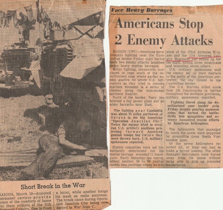 News article mentioning Gregory and his armored cavalry regiment during the war.