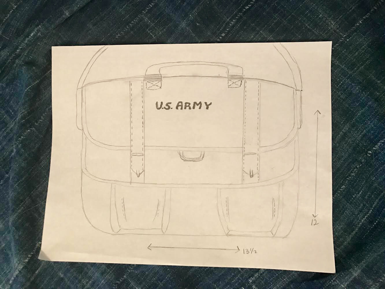 Our initial sketch for the messenger bag.